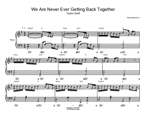 Pay for We are Never Ever Getting Back Together