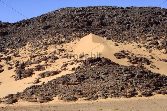 Entstehung einer Sanddüne in einer Felswüste, Hamada, Sahara, Libyen, Nordafrika, Afrika