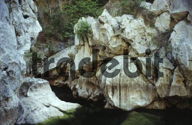 Rock formations at the gorge Torrent de Pareis near Sa Calobra, Mallorca, Spain