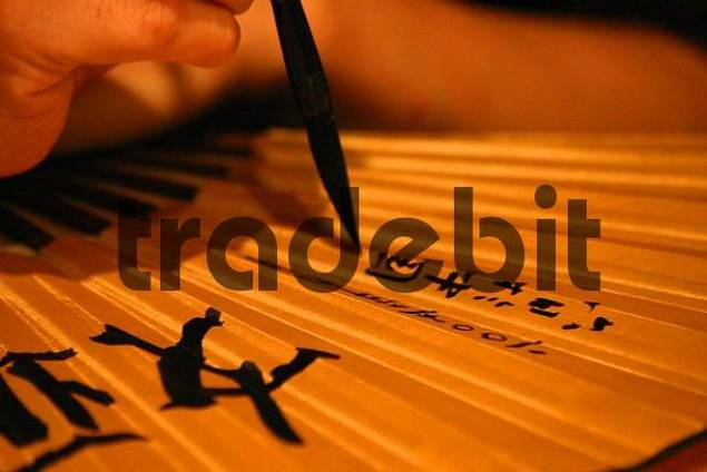Chinesische Kalligrafie auf einem Fächer, China
