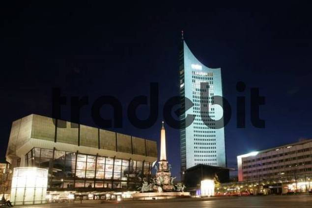 Augustusplatz or Augustus Square featuring the Gewandhaus or Textile House and skyscraper, Leipzig, Saxony, Germany, Europe